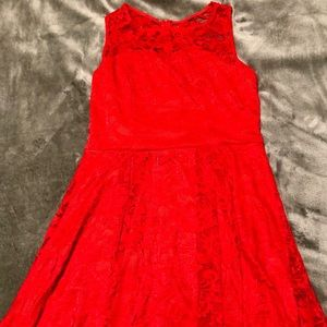 Red High-Low Lace Dress